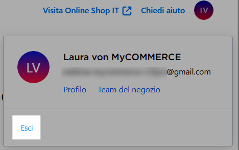 uscire dall account mycommerce