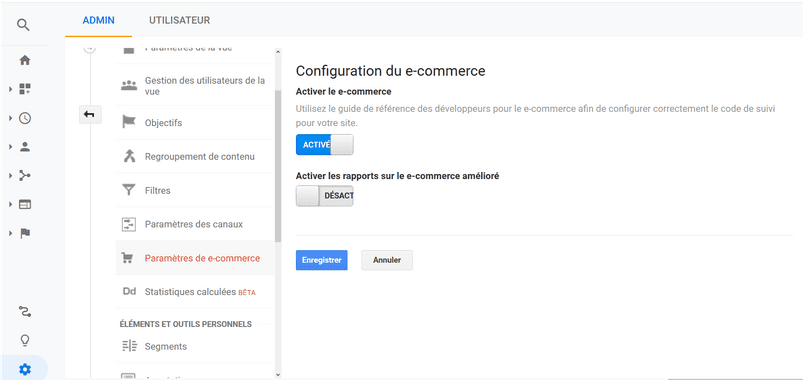 Configuration du e-commerce
