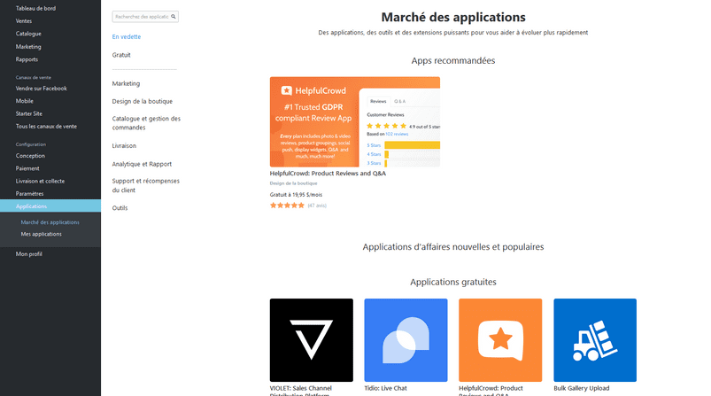 Marché des applications