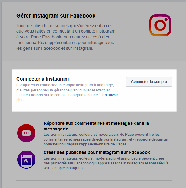 Connecter à Instragram