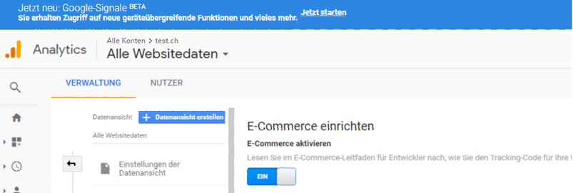 Google Analytics Einstellungen 2