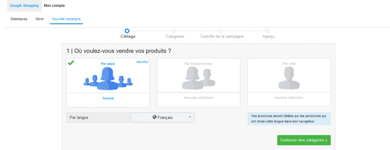 groupe cible Google Shopping