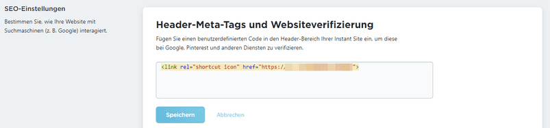 code fuer favicon in meta tags hochladen