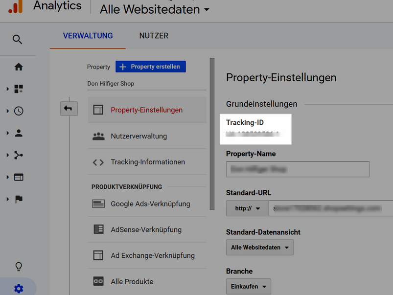 Tracking ID im Google Analytics kopieren